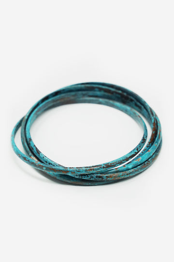 Turquoise Industrial Bangle Set