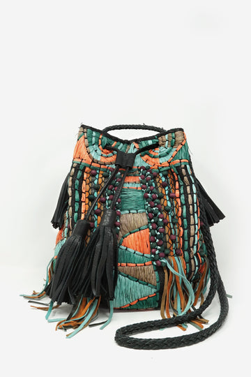 Wicker Woven Bucket Bag