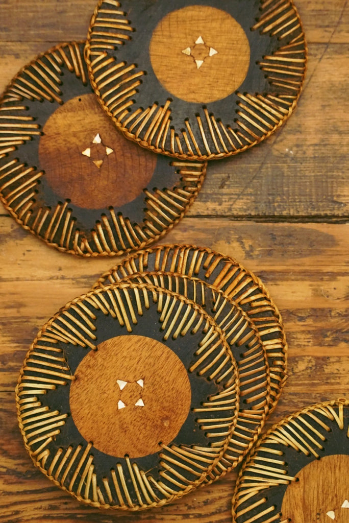 Wood Wicker Coaster Set