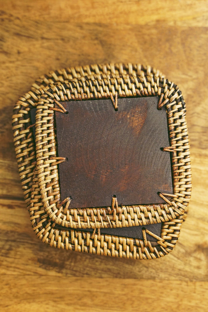Square Wood Wicker Coaster Set