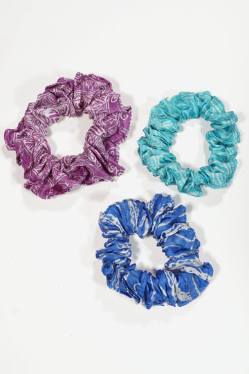 Recycled Silk Scrunchie Set