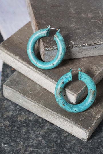 Thick Turquoise Industrial Hoop