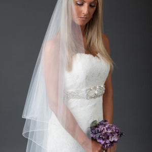 handmade drop Single Tier wedding veil tulle