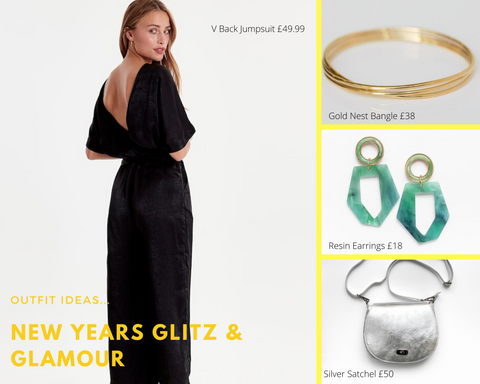 New Year's outfit ideas with jumpsuit, handbag, earrings and bracelet