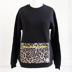 Black sweatshirt with a leopard print pocket.