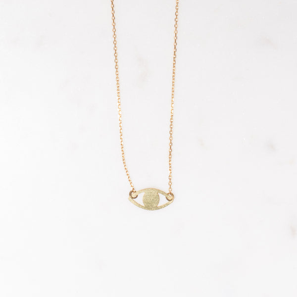 brass eye pendant necklace