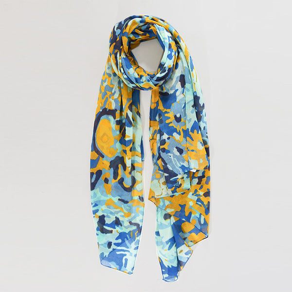 Yellow & Blue Camo Floral Cotton Scarf