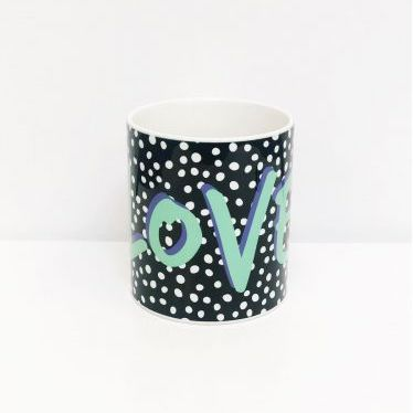 Black Polka Dot Love Mug
