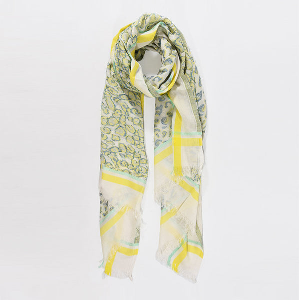 yellow and grey jacquard cotton scarf