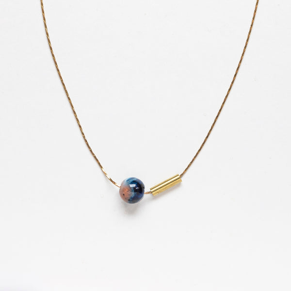 Ball & Brass Pendant Necklace (colours)