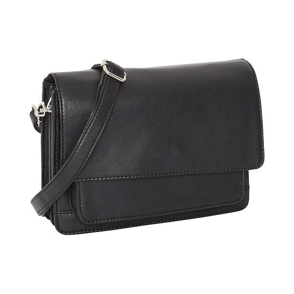 Black leather front pocket handbag