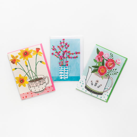 Set of 3 Flowery Greeting Cards