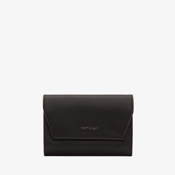 Black vegan leather purse by Matt & Nat. folds out to hold all your money and cards. lovely gift for her.