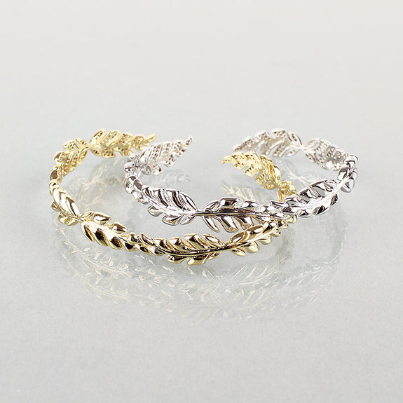Silver Gabi Leaf Bangle