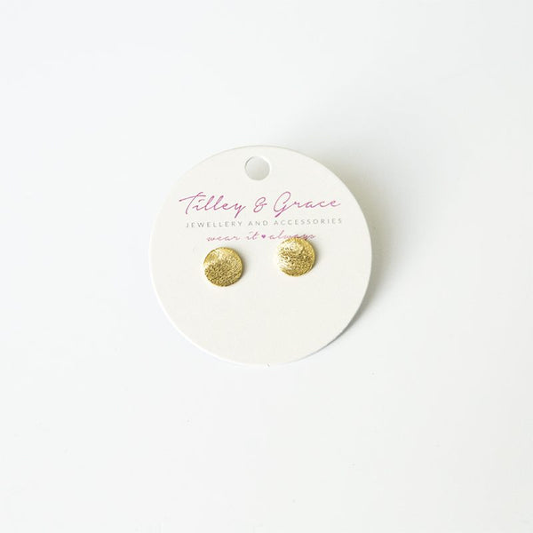Hammered round disc stud earrings in gold plate. Matching necklace making a great gift for her from a Brighton boutique.
