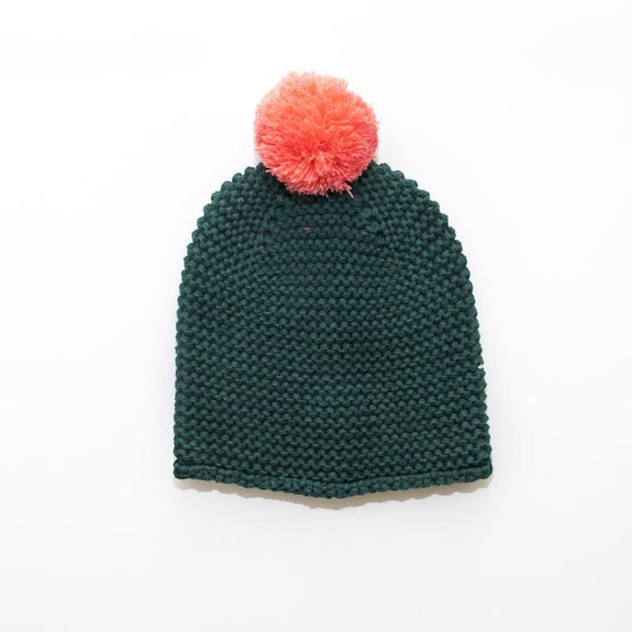 forest green chunky knit beanie hat with pink pom pom.