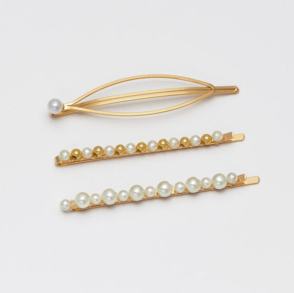 Set of 3 pearl hair clips