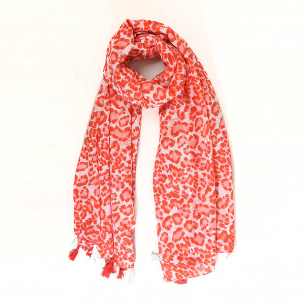 Red Leopard Scarf with Tassels