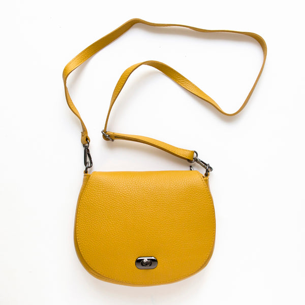 Mustard Yellow Leather Mini Satchel Bag