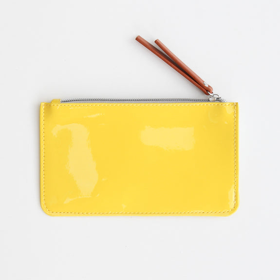 patent leather look yellow purse