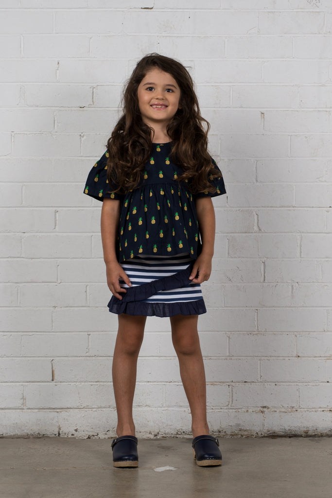 All Around Skirt - Washed Navy Stripe