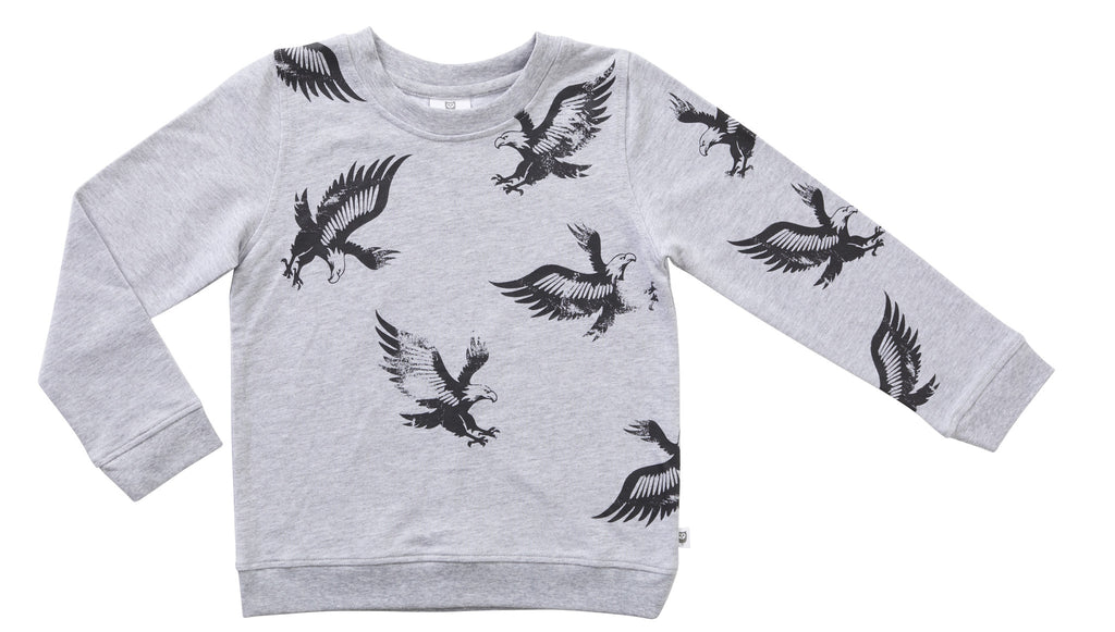 SCATTERED EAGLE SWEAT - GREY MARLE