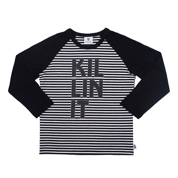 Killin It Tee - Black/White Stripe