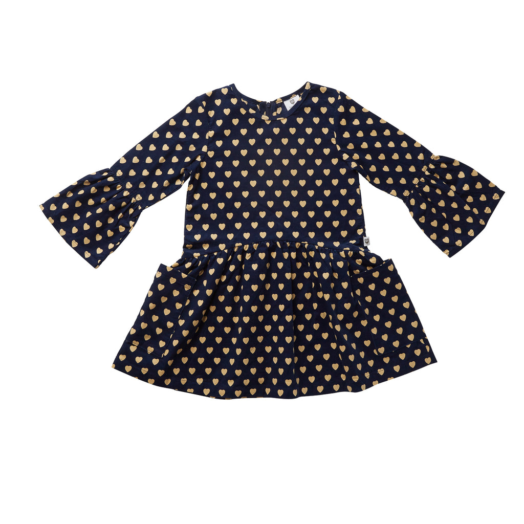309f41b065ce HERE SHE COMES DRESS - NAVY WITH WARM WHITE HEARTS – Hootkid