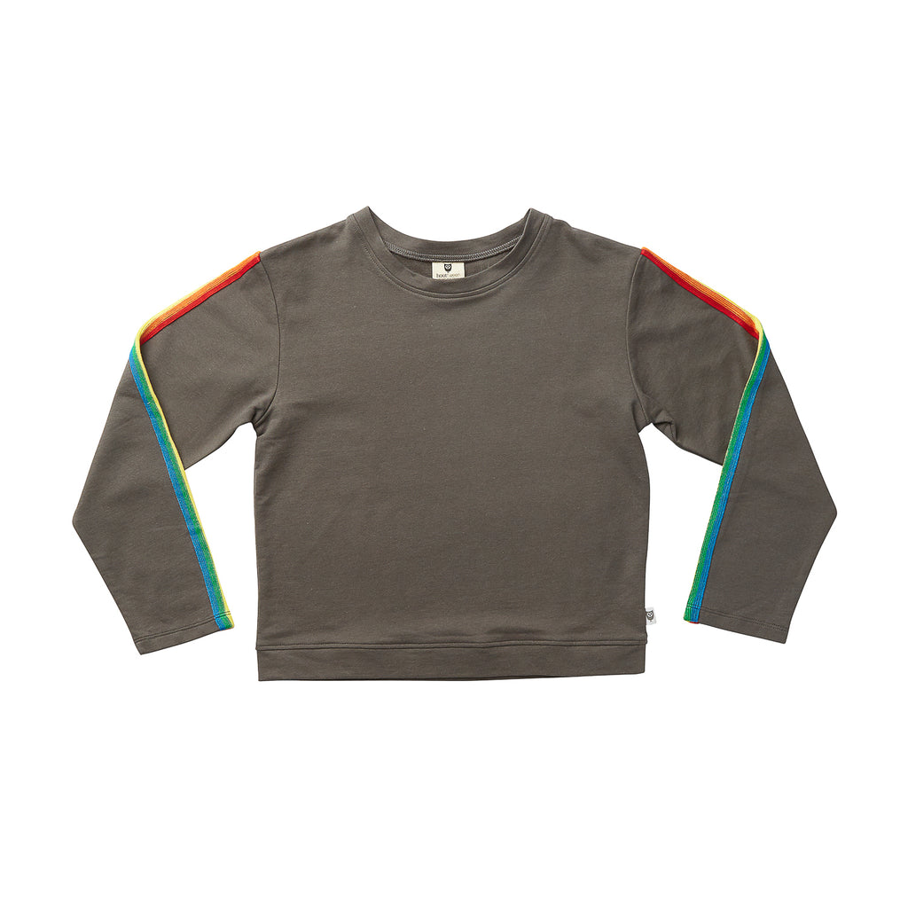 RAINBOW STRIPE SWEATER - DARK CHARCOAL