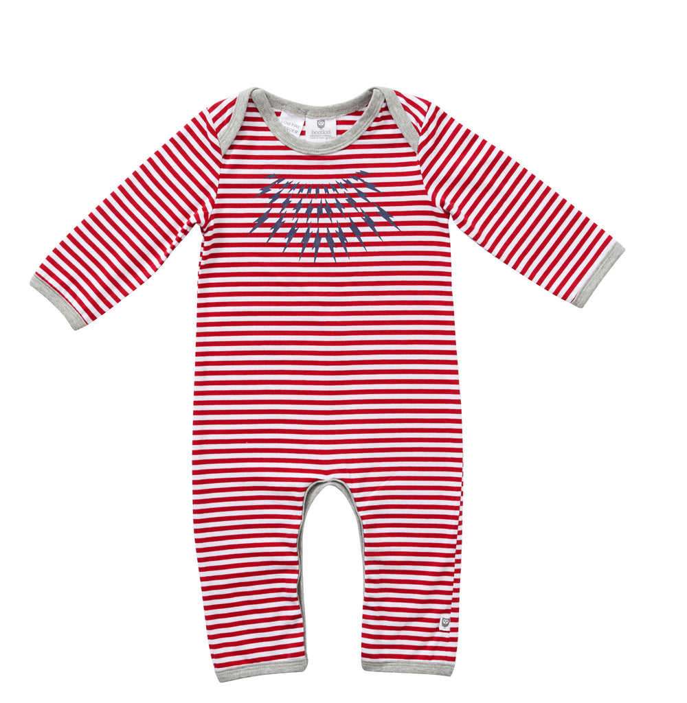 GET BOLTED ROMPER - RED/WHITE STRIPE