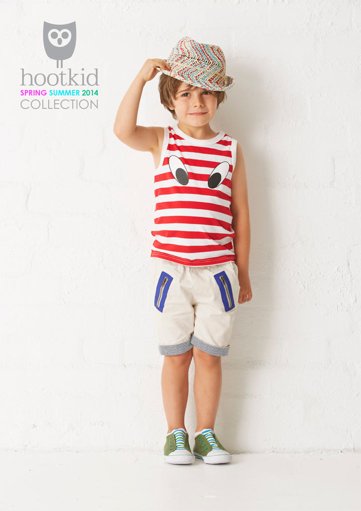 LOOK HERE TANK - RED/WHITE STRIPE