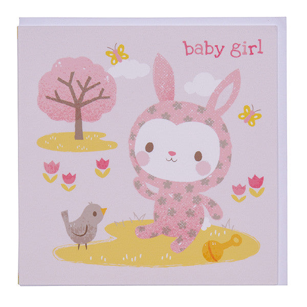 Tiger Tribe - Greeting Card Baby Girl Bunny