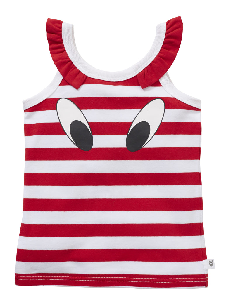 LOOK HERE TOP - RED/WHITE STRIPE