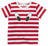 LOOK HERE TEE - RED/WHITE STRIPE