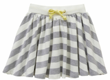 RIGHT NOW SKIRT - GREY MARLE/WHITE STRIPE