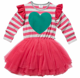LOVE YOU LOTS TUTU DRESS - HOT PINK/GREY STRIPE