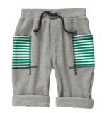 ROLL ON SHORT - GREY MARLE WITH STRIPE POCKETS