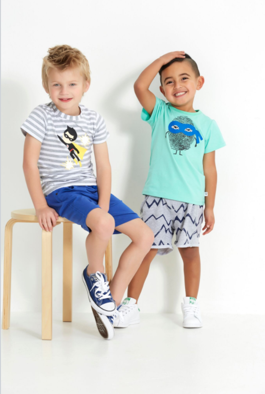 SUPER BOY TEE - GREY / WHITE STRIPE