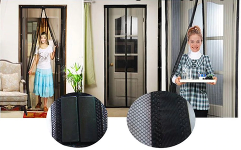 Screen door air mesh curtains