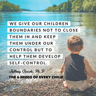 "Meme with a photo of a child by the shore of a lake that says, ""We give our children boundaries not to close them in and keep them under our control but to help them develop self-control."""