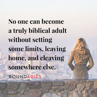 meme with the photo of a woman sitting on a wall overlooking a city. It says, No one can become a truly biblical adult without setting some limits, leaving home, and cleaving somewhere else.