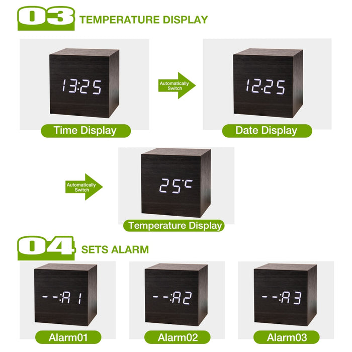 Modern Digital Wood Clock-Home-Magnifar