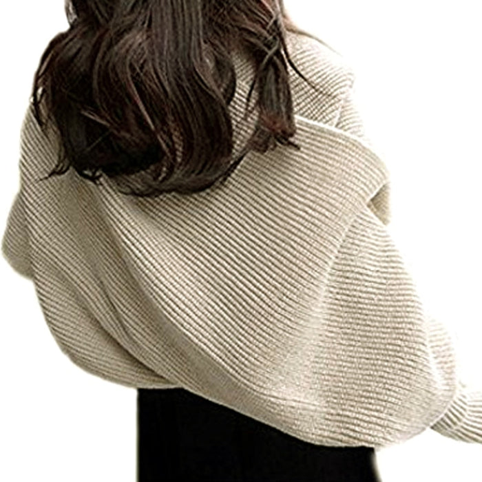 Knitted Wrap Scarf With Sleeves-Knitted Wrap Scarf With Sleeves-Magnifar