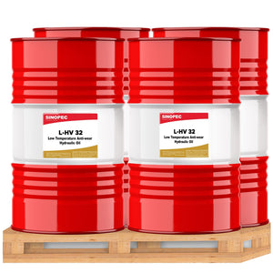 $439 each - Sinopec HVI 32 High Viscocity Hydraulic Oil Fluid (ISO 32, SAE 10W) - 200L (55 Gallon) Drum (Qty: 4)