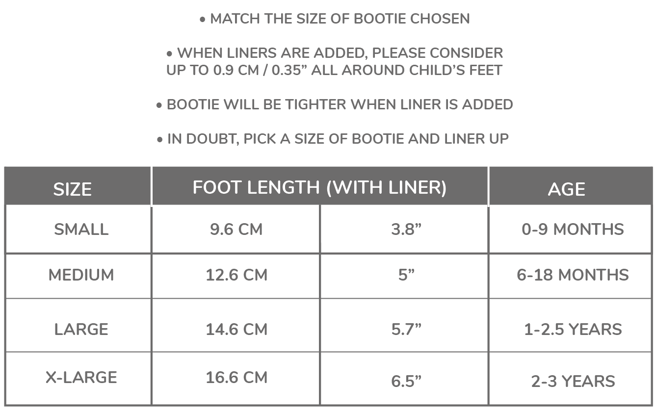 Sizing for Bootie Liner
