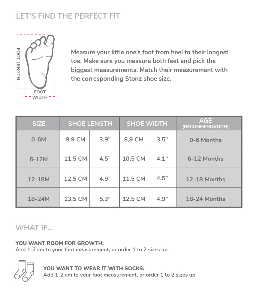 Sizing for the Baby Shoes