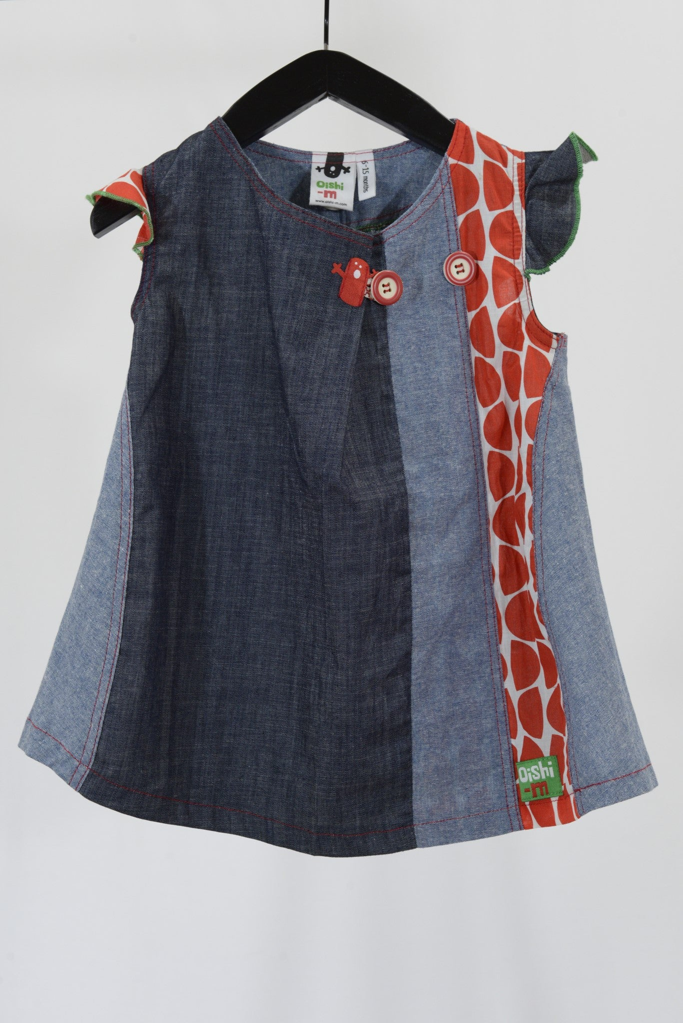 Oishi-m baby dress, denim blue and red.