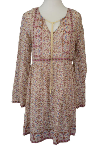 Tree of Life boho dress, pink and brown floral, long sleeved.