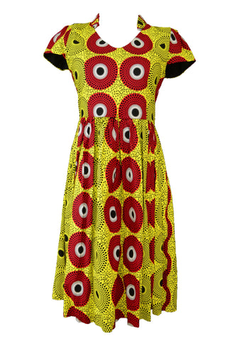 Handmade dress, yellow, red and black