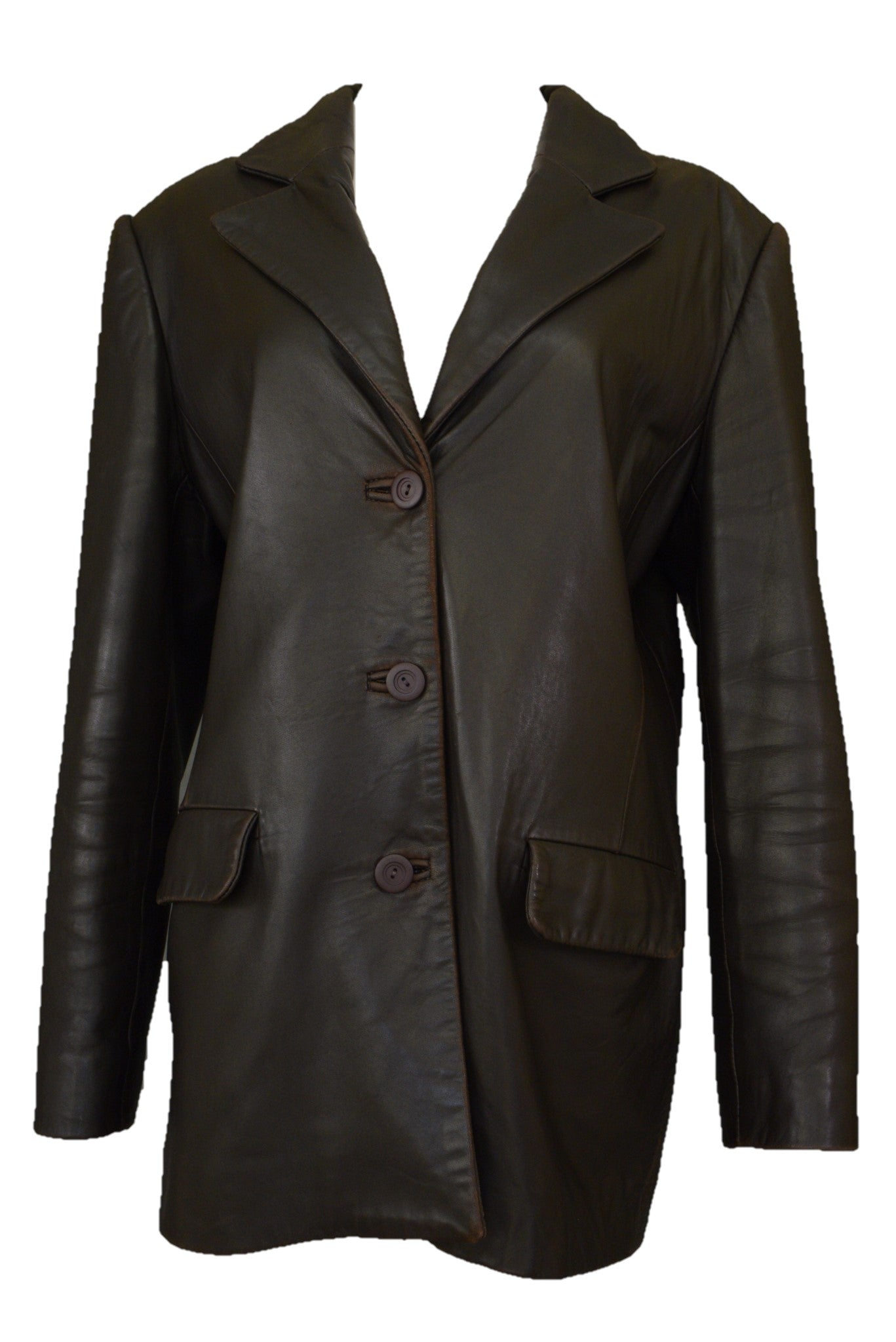 Guru Leather custom made chocolate brown leather women's jacket